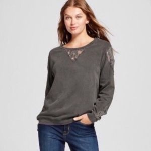 Knox Rose Vintage Grey Wash Lace Sweatshirt